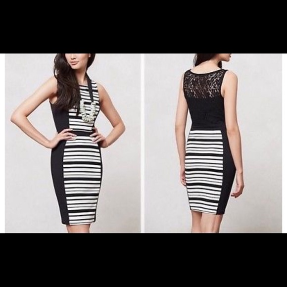Anthropologie Dresses & Skirts - Anthropologie black/white pencil dress w/lace back